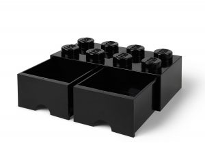 brique noire de rangement lego 5006248 a tiroir et a 8 tenons