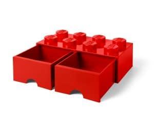 brique rouge de rangement lego 5006131 a tiroir 8 tenons