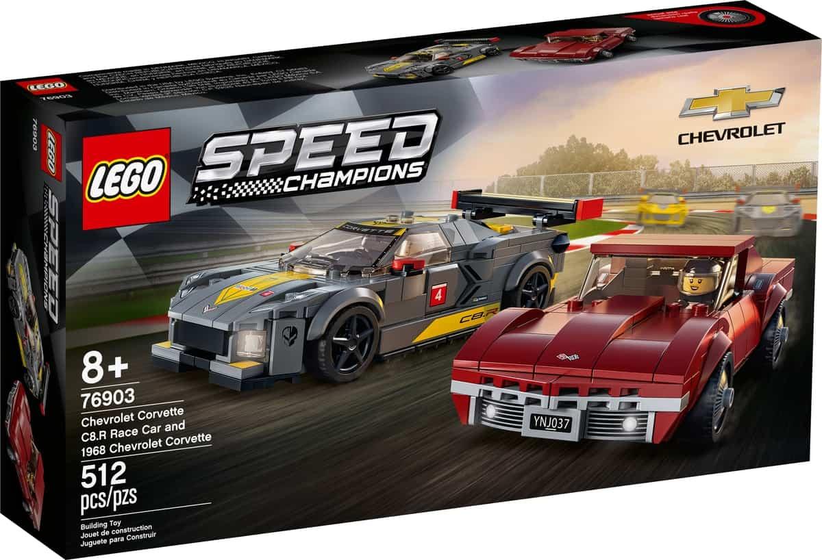 lego 76903 chevrolet corvette c8 r race car et 1968 chevrolet corvette